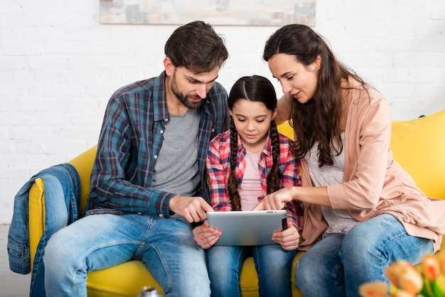 Happy family browsing on the internet