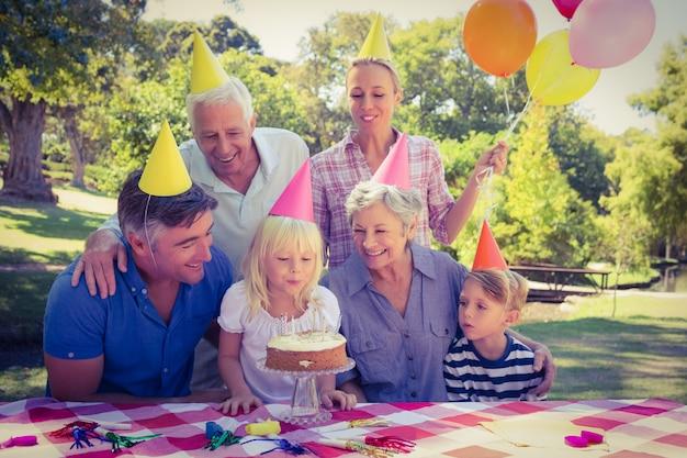 Happy family celebrating a birthday
