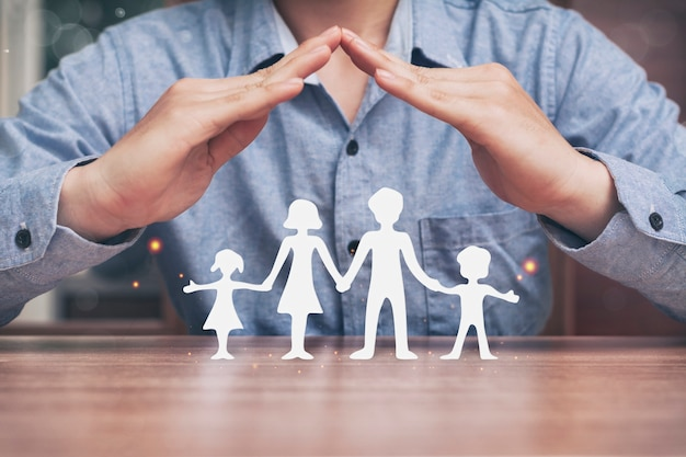 Happy family concept and insurance businessmen