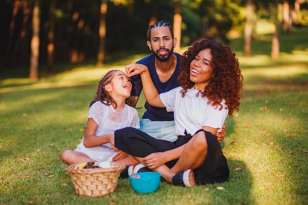 공원에서 피크닉을 하 고 행복 한 가족