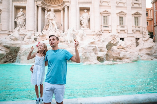 Happy family enjoy their italian vacation holiday in europe.