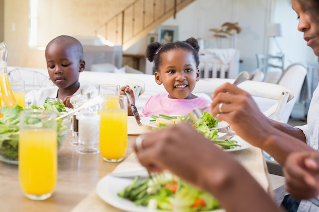 Happy family enjoying a healthy meal together