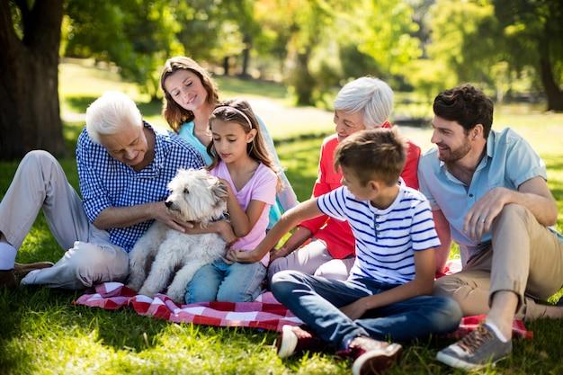 Happy family enjoying in park