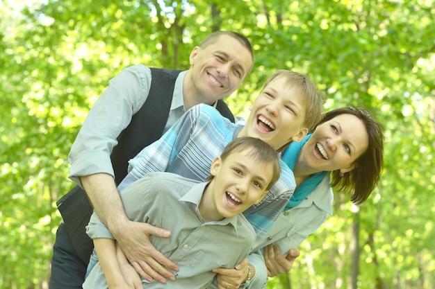 Happy family enjoying a walk in the fresh air