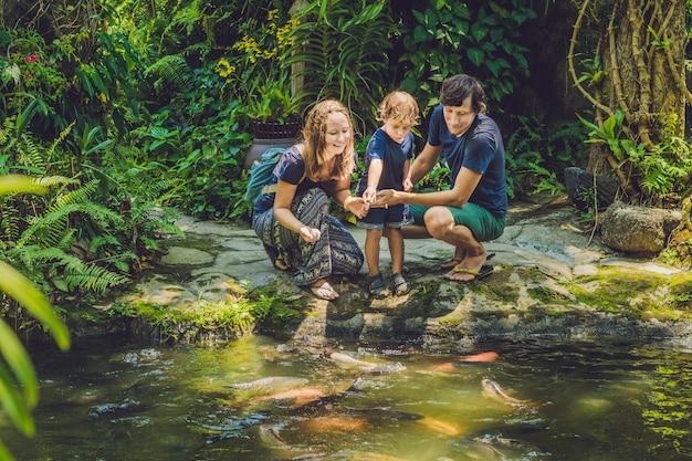 Счастливая семья кормит красочных сомов в тропическом пруду