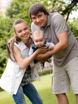 Happy family get stroll in the park