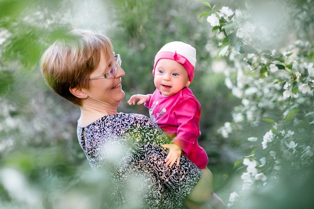 Happy family grandmother and granddaughter child