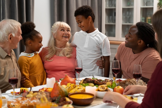 Happy family having a nice thanksgiving dinner together