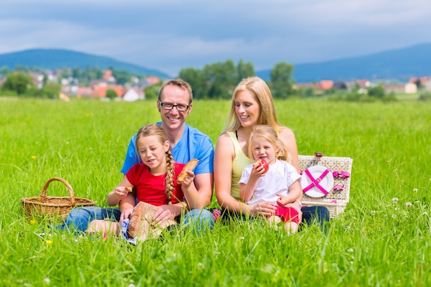 Happy family having picnic in meadow