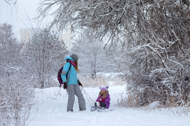 Happy family -  mother and daughter on a winter walk