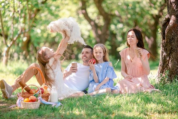 晴れた日に公園でピクニックに幸せな家族