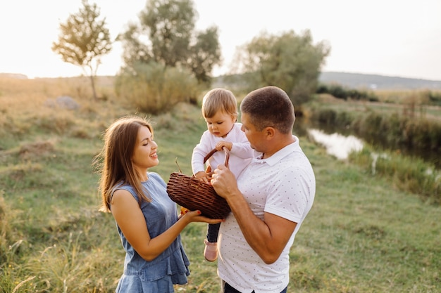 Happy family outdoors spending time together