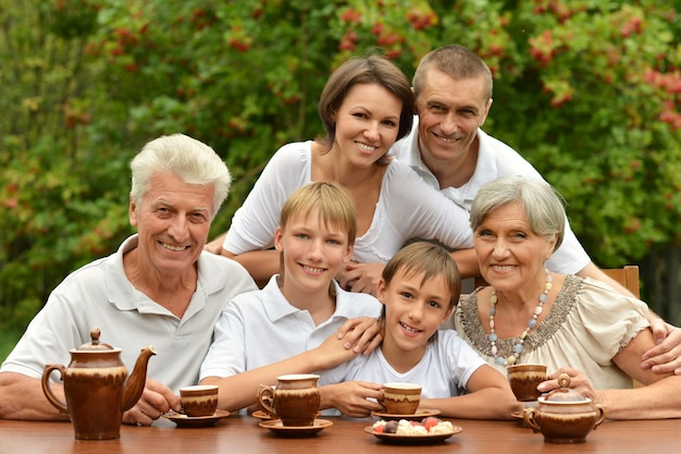 Happy family: parents and children at a table eating fruits in summer with red cat