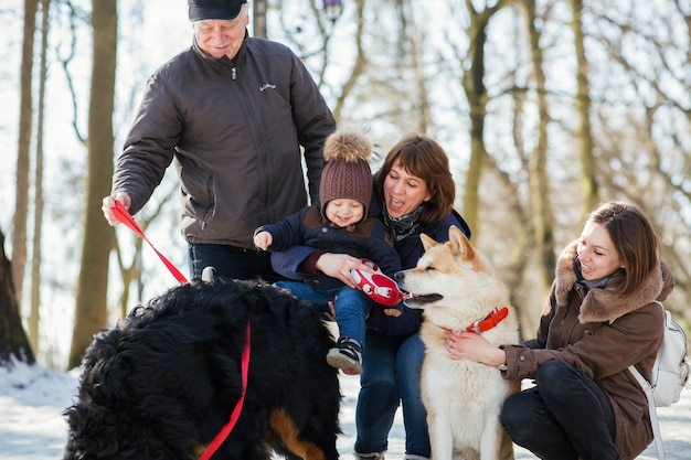 Happy family poses with funny akita-inu and bernese mountain dog on the snow