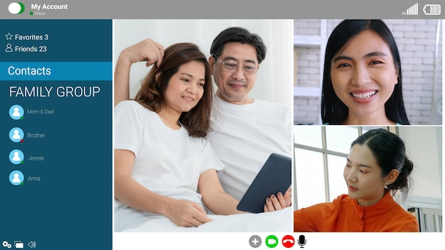 Happy family talking on internet video call at home