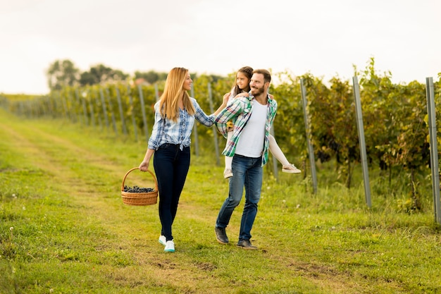 Happy family in vineyard
