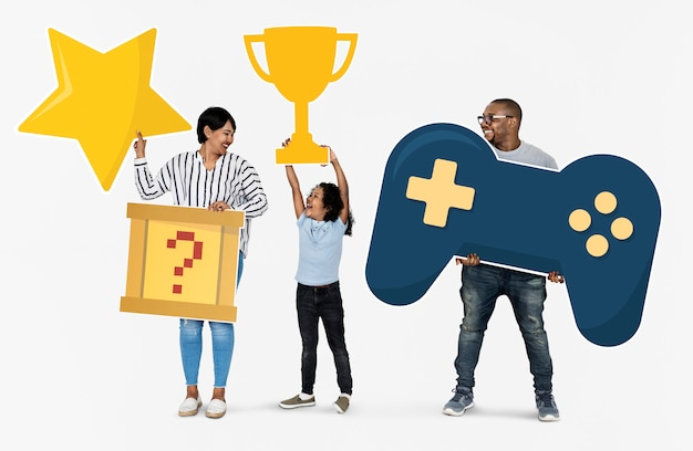 Happy family winners of a video game challenge