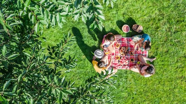 公園でピクニックを持っている子供、庭の草の上に座って屋外で健康的な食事を食べる子供を持つ親、上から空中ドローンビューと幸せな家庭