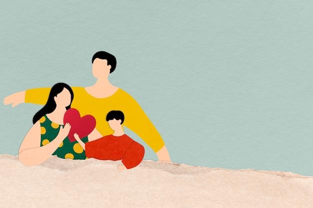 心とコピースペースを持つ幸せな家族