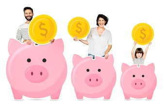 Happy family with piggy banks