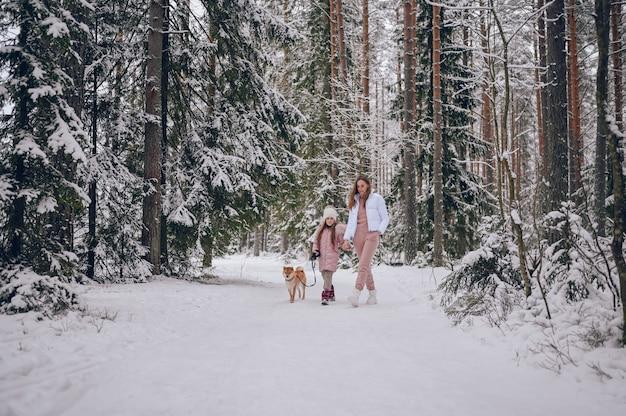 행복 한 가족 젊은 어머니와 분홍색 따뜻한 착실히 보내다에 작은 귀여운 소녀 눈 덮인 하얀 추운 겨울 숲 야외에서 빨간색 시바 inu 강아지와 함께 재미 산책