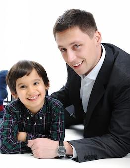 幸せな父と息子