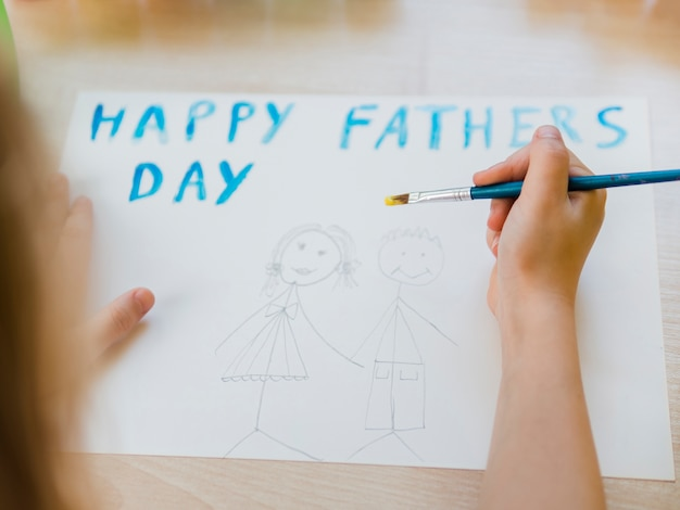 Happy father's day with daughter and dad drawing