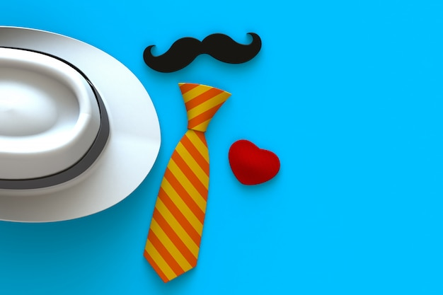 Happy fathers day concept with heart, mustache and neck tie