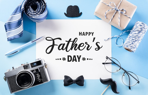 Happy fathers day decoration concept with greeting card on pastel blue background