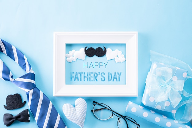 Happy fathers frame day on bright blue