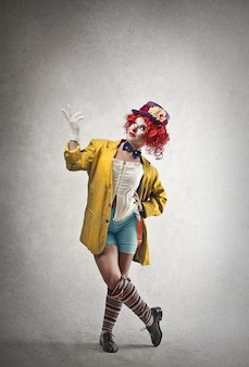 Happy female clown
