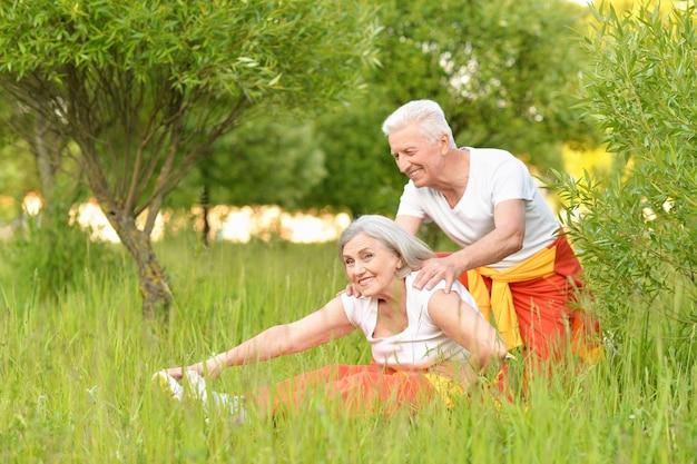 Happy fit senior couple exercising in  park