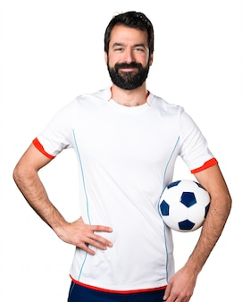 Счастливый футболист, проведение футбольный мяч