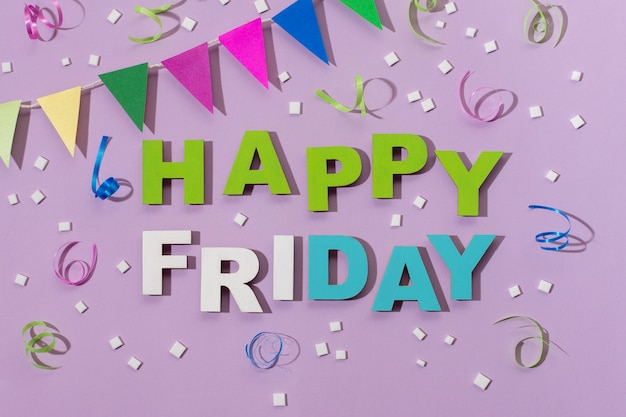 Happy friday lettering in paper style