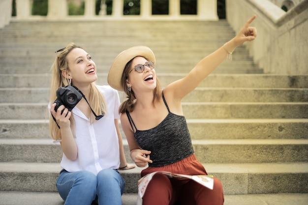 Happy friends on a city tour