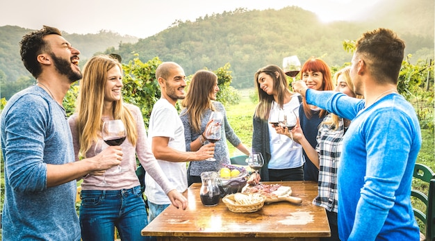 Счастливые друзья весело пьют красное вино в винограднике