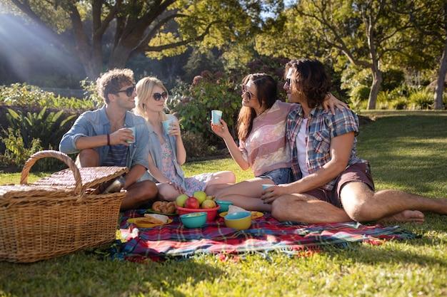 公園でピクニックを持つ幸せな友達