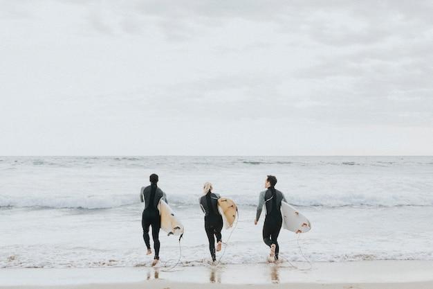 Счастливые друзья, занимающиеся серфингом на пляже