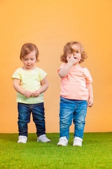 행복한 웃긴 여자 쌍둥이 자매 놀고 웃고