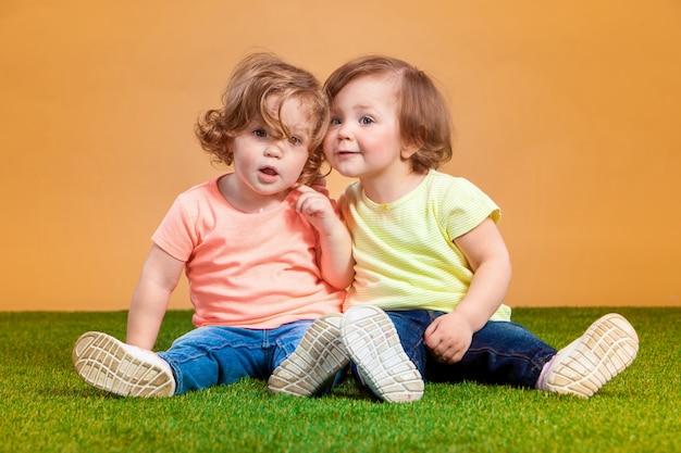 Счастливая смешная девушка сестры-близнецы играть и смеяться