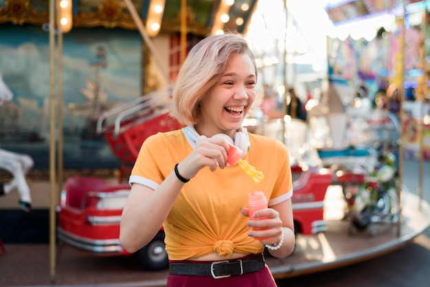 Happy girl at amusement park