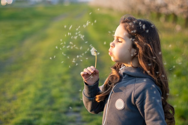 Happy girl blowing on a white dandelion against the sunset in nature.