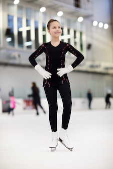 Happy girl figure skating