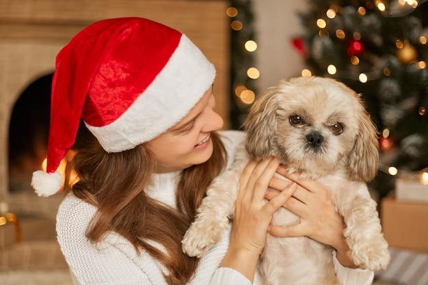 Happy girl in santa hat hugging with cute dog  of beautiful christmas tree with lights in festive room, warm holiday atmospheric moments, pekingese with his owner in living room.