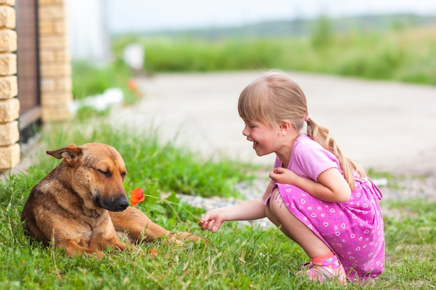 Счастливая девушка показывает красный цветок собаке