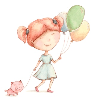 Happy girl walks with a piglet and balloons
