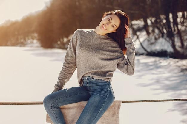 Happy girl in a winter city