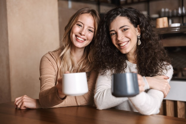 A happy girls friends sitting in cafe talking with each other drinking tea or coffee