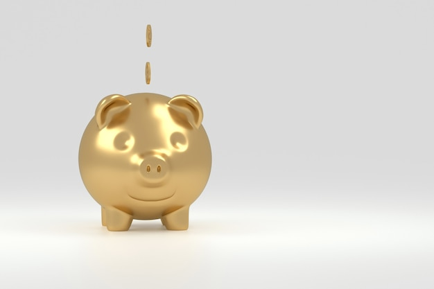 Happy gold pig bank with white background isolated coins. with empty space for the text. concept of millionaire savings money. 3d rendering.