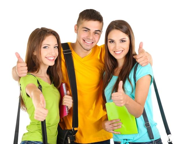 흰색 절연 아름 다운 젊은 사람들의 행복 그룹